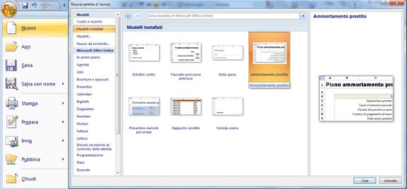 Modello ammortamento prestito o mutuo Excel